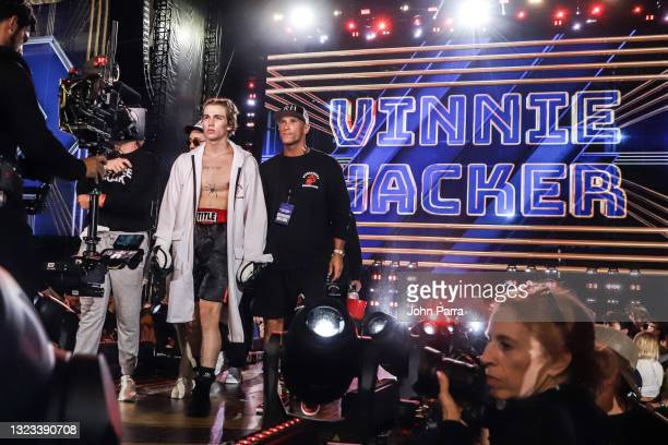Vinnie Hacker enters the ring during LivexLive's Social Gloves: Battle Of The Platforms PPV Livestream at Hard Rock Stadium on June 12, 2021 in Miami...
