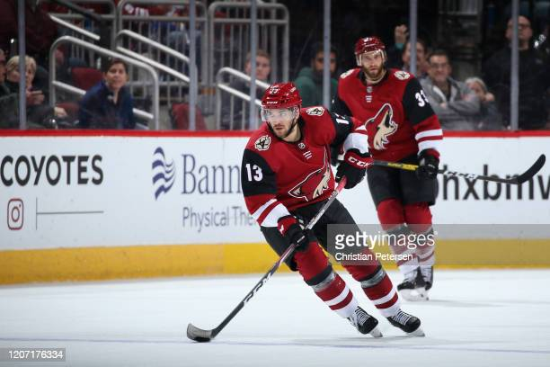 Vinnie Hinostroza of the Arizona Coyotes skates with the puck during the third period of the NHL game against the New York Islanders at Gila River...