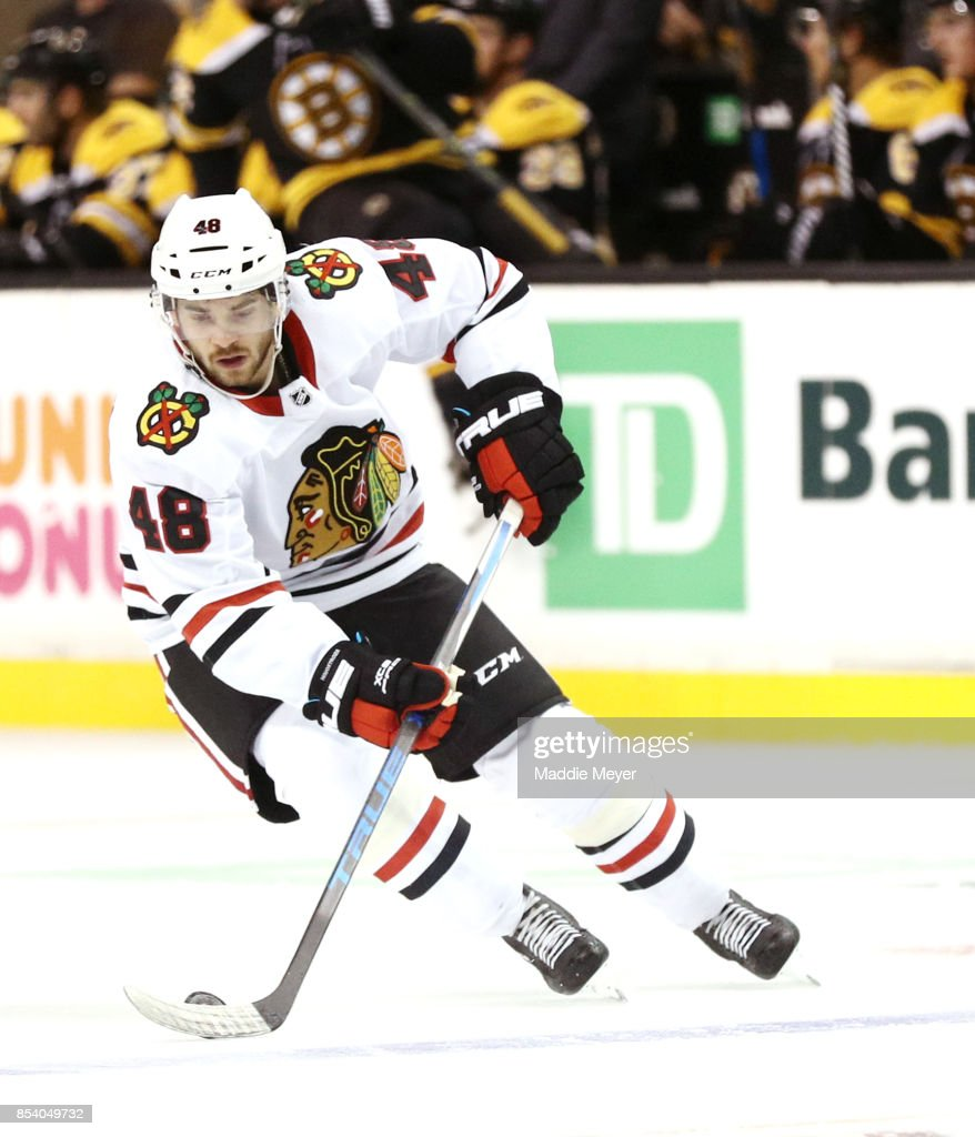 Vinnie Hinostroza #48 of the Chicago Blackhawks skates against the Boston Bruins during the first period at TD Garden on September 25, 2017 in Boston, Massachusetts.