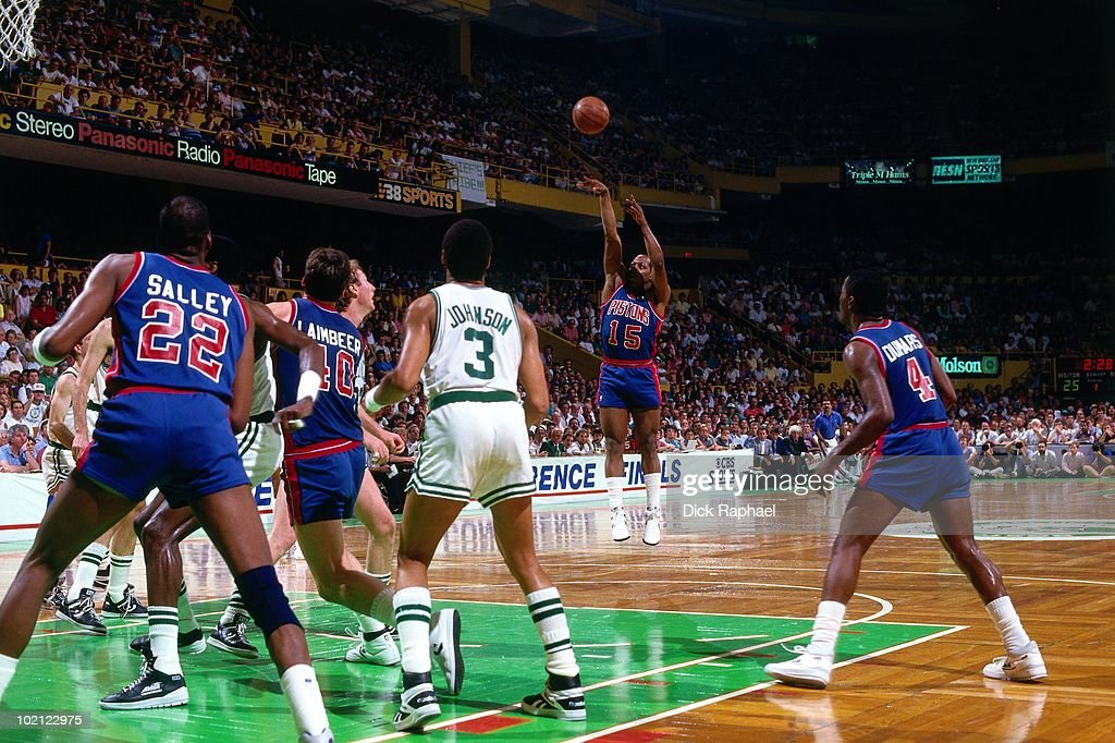 Vinnie Johnson #15 of the Detroit Pistons shoots a jump shot against the Boston Celtics during a game played in 1987 at the Boston Garden in Boston, Massachusetts.