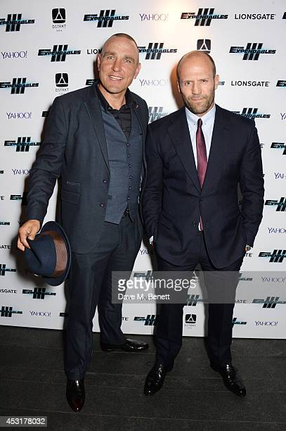 Vinnie Jones and Jason Statham attend an after party following the World Premiere of 'The Expendables 3' at DSKTRT on August 4 2014 in London England
