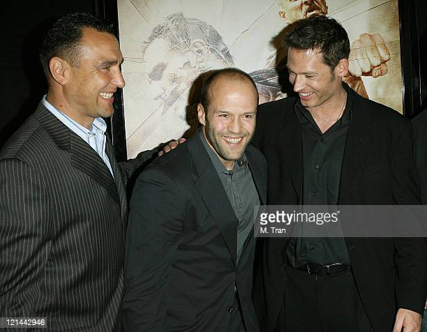 Vinnie Jones Jason Statham and Scott Wiper during 'The Condemned' Los Angeles Premiere Arrivals at Arclight in Hollywood California United States