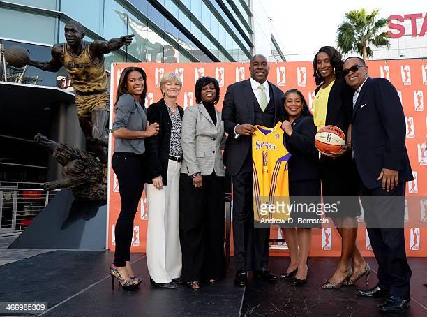 Vinnie Macolm Sparks President Lindsay Harding Sparks player WNBA president Laurel J Richie Earvin Magic Johnson Lisa Leslie Carol Ross Sparks head...