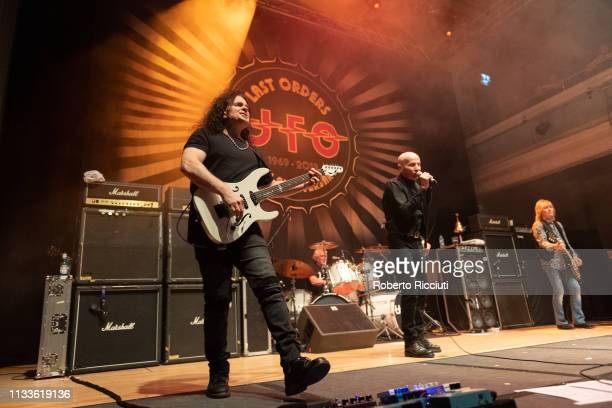 Vinnie Moore Andy Parker Phil Mogg and Paul Raymond of UFO perform onstage Last Orders 50th Anniversary tour at The Queen's Hall on March 29 2019 in...