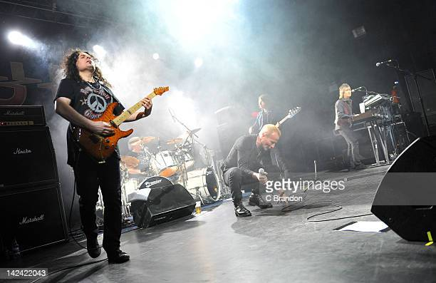 Vinnie Moore Andy Parker Phil Mogg Pete Way and Paul Raymond of UFO performs on stage at HMV Forum on April 4 2012 in London United Kingdom