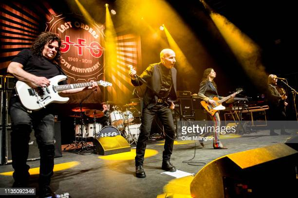 Vinnie Moore Phil Mogg Andy Parker Rob De Luca and Paul Raymond of UFO perform on stage for the last time in the UK during the Last Orders 50th...