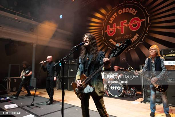 Vinnie Moore Phil Mogg Rob De Luca Andy Parker and Paul Raymond of UFO perform onstage Last Orders 50th Anniversary tour at The Queen's Hall on March...