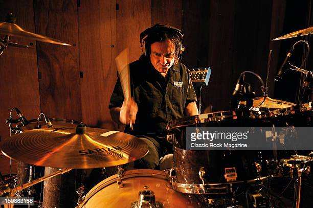 Vinny Appice of Heaven and Hell recording at the Rockfield Studios on July 25, 2007 in Monmouth.