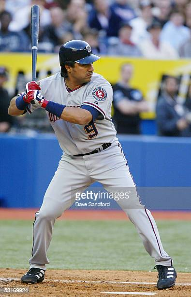 Vinny Castilla of the Washington Nationals bats against the Toronto Blue Jays during the Interleague game at Rogers Centre on May 20 2005 in Toronto...