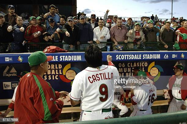 Vinny Castillo of Mexico signs autographs before the game against South Africa on March 7, 2006 at Scottsdale Stadium in Scottsdale, Arizona. Mexico...