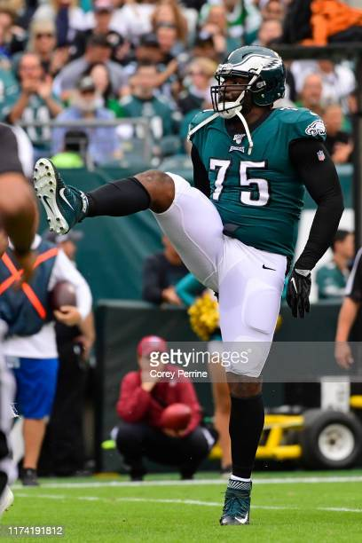 Vinny Curry of the Philadelphia Eagles celebrates a stop during the second quarter against the New York Jets at Lincoln Financial Field on October 6,...