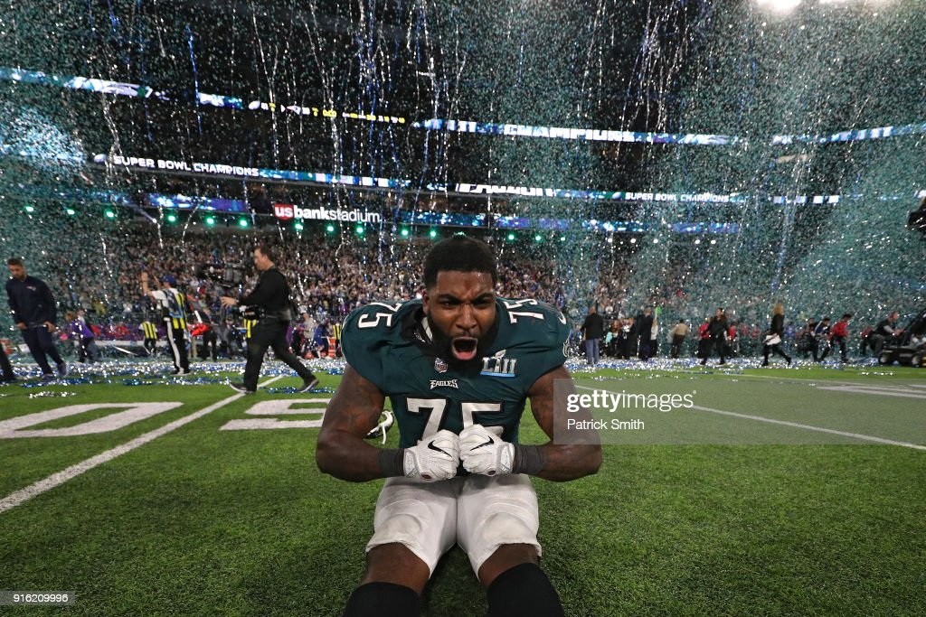 Vinny Curry #75 of the Philadelphia Eagles celebrates after defeating the New England Patriots 41-33 in Super Bowl LII at U.S. Bank Stadium on February 4, 2018 in Minneapolis, Minnesota.