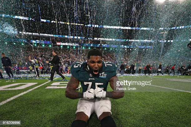 Vinny Curry of the Philadelphia Eagles celebrates after defeating the New England Patriots 41-33 in Super Bowl LII at U.S. Bank Stadium on February...