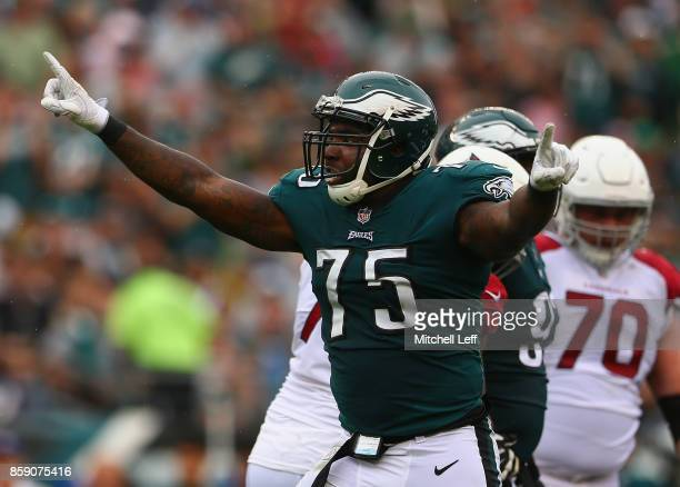 Vinny Curry of the Philadelphia Eagles celebrates after sacking quarterback Carson Palmer of the Arizona Cardinals during the second quarter at...