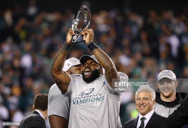 Vinny Curry of the Philadelphia Eagles celebrates his teams win over the Minnesota Vikings in the NFC Championship game at Lincoln Financial Field on...