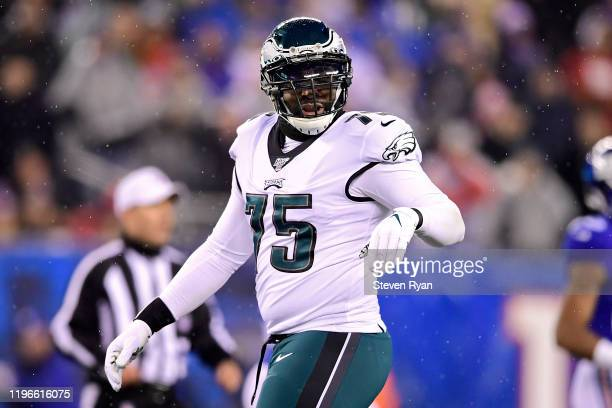 Vinny Curry of the Philadelphia Eagles looks on against the New York Giants at MetLife Stadium on December 29, 2019 in East Rutherford, New Jersey.