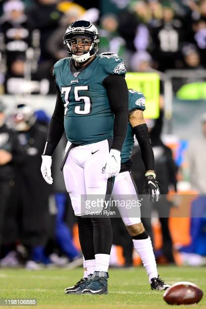 Vinny Curry of the Philadelphia Eagles looks on against the Seattle Seahawks in the NFC Wild Card Playoff game at Lincoln Financial Field on January...