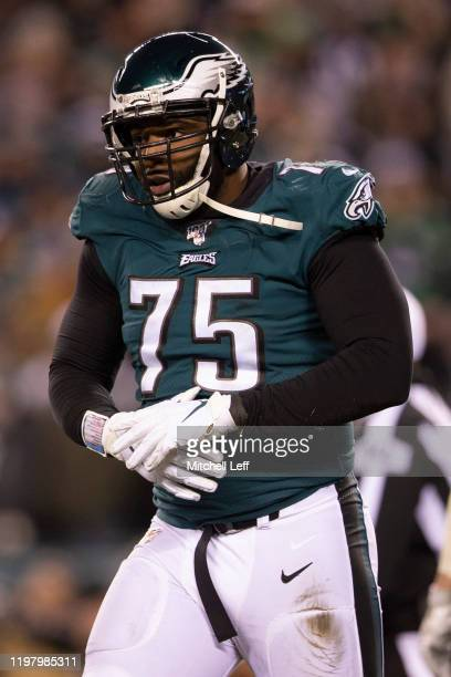 Vinny Curry of the Philadelphia Eagles looks on during the NFC Wild Card game against the Seattle Seahawks at Lincoln Financial Field on January 5,...