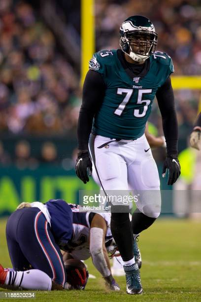 Vinny Curry of the Philadelphia Eagles reacts against the New England Patriots at Lincoln Financial Field on November 17, 2019 in Philadelphia,...