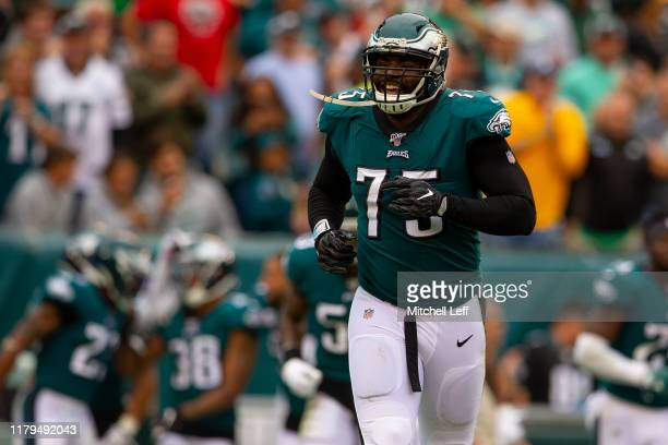Vinny Curry of the Philadelphia Eagles reacts against the New York Jets at Lincoln Financial Field on October 6, 2019 in Philadelphia, Pennsylvania.