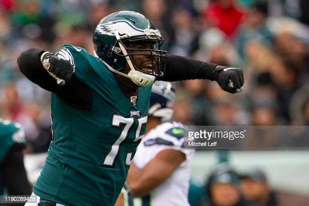 Vinny Curry of the Philadelphia Eagles reacts against the Seattle Seahawks at Lincoln Financial Field on November 24, 2019 in Philadelphia,...