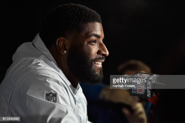 Vinny Curry of the Philadelphia Eagles speaks to the media during Super Bowl LII media availability on January 30, 2018 at Mall of America in...