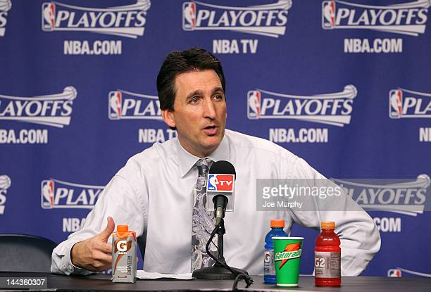 Vinny Del Negro Head Coach of the Los Angeles Clippers speaks to the media after the Los Angeles Clippers defeated the Memphis Grizzlies in Game...