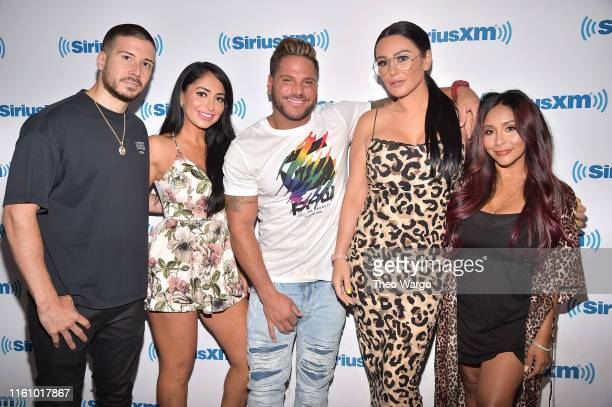 "Vinny Guadagnino, Deena Nicole Cortese, Ronnie Ortiz-Magro, Jenni ""JWoww"" Farley and Nicole ""Snooki"" Polizzi visit SiriusXM Studios on July 09, 2019..."
