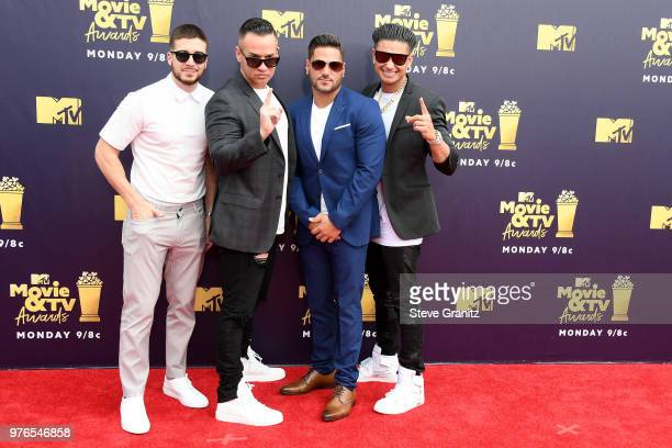 Vinny Guadagnino, Mike Sorrentino, DJ Pauly D and Ronnie Ortiz-Magro attend the 2018 MTV Movie And TV Awards at Barker Hangar on June 16, 2018 in...