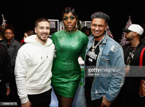 Vinny Guadagnino Monet X Change and Pauly D attend Z100's Jingle Ball 2018 Gift Lounge at Madison Square Garden on December 7 2018 in New York City
