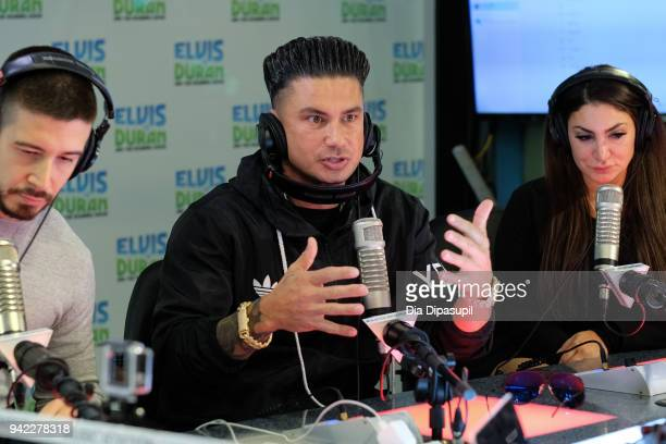 Vinny Guadagnino Paul Pauly D DelVecchio and Deena Nicole Cortese visit the The Elvis Duran Z100 Morning Show at Z100 Studio on April 5 2018 in New...
