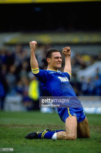 Vinny Jones of Wimbledon celebrates during the FA Cup semifinal against Luton Town at Selhurst Park in London Wimbledon won the match 21 Mandatory...