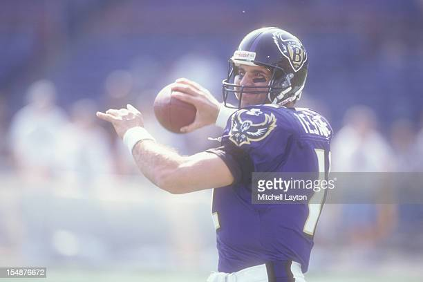 Vinny Testaverde of the Baltimore Ravens warms up before a football game against the Pittsburgh Steelers on October 6 1997 at Memorial Stadium in...