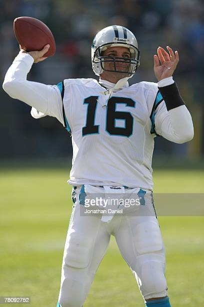 Vinny Testaverde of the Carolina Panthers fades back to pass during the NFL game against the Green Bay Packers at Lambeau Field on November 18 2007...