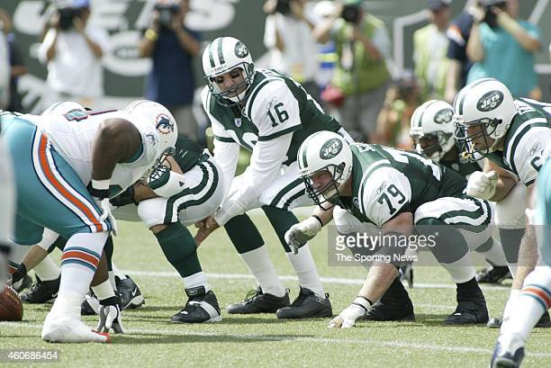 Vinny Testaverde of the New York Jets during a game against the Miami Dolphins on September 14 2003 at the MetLife Stadium in East Rutherford New...