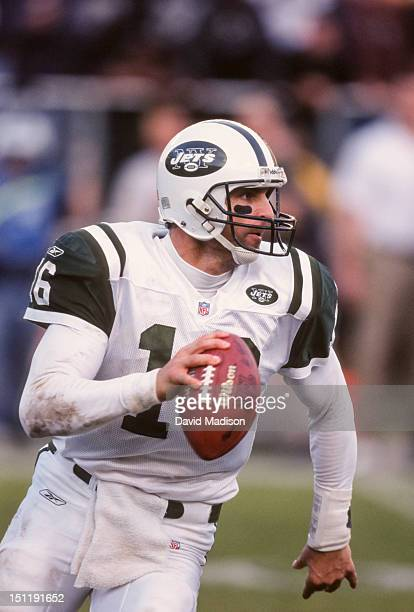 Vinny Testaverde of the New York Jets throws a pass during a National Football League game against the Oakland Raiders played on January 6 2002 at...