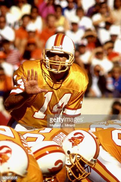 Vinny Testaverde of the Tampa Bay Buccaneers calls the signals before the snap in a NFL game against the Buffalo Bills at Tampa Stadium on December 4...