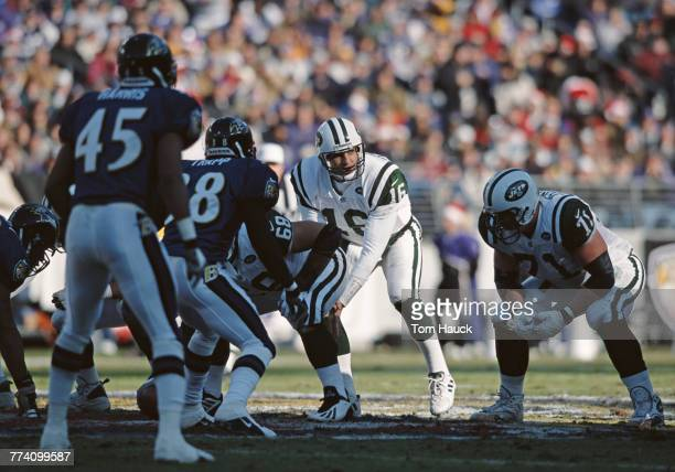 Vinny Testaverde Quarterback for the New York Jets calls the play on the line of scrimmage during the American Football Conference Central game...