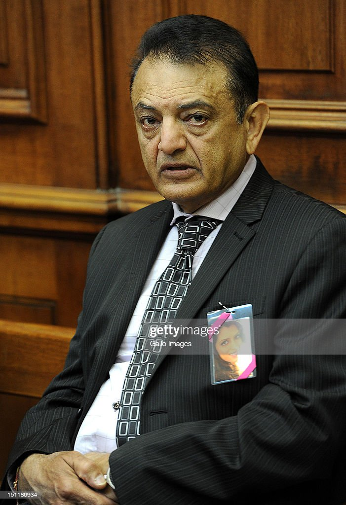 Vinod Hindocha, father of murdered Anni Dwani appears at the Cape Town High Court, on September 3, 2012 in Cape Town, South Africa. He is attending the trial of Xolile Mngeni, who is accused of being involved in the murder of Anni. The deceased's husband Shrien Dewani remains in Britain fighting extradition as he faces accusations of allegedly plotting her murder.