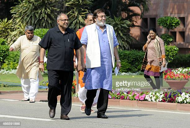 Vinod Khanna coming out after BJP parliamentary board meeting at Parliament House on March 17 2015 in New Delhi India The BJP parliamentary board...