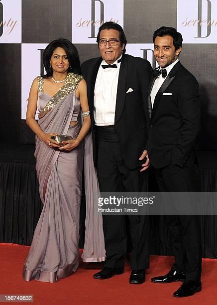 'MUMBAI INDIA OCTOBER 10 Vinod Khanna with his wife Kavita Khanna and son Rahul Khanna during Amitabh Bachchan's 70th Birthday Party At Reliance Film...
