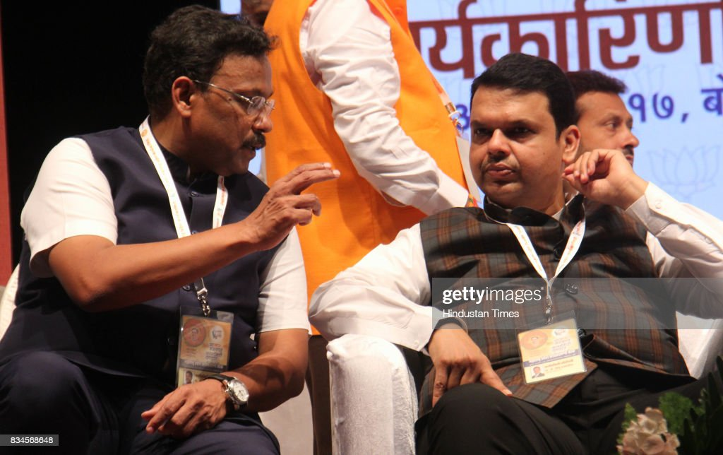 Vinod Tawde, Minister of School Education, and Maharashtra Chief Minister Devendra Fadnavis during the BJP state executive meeting at Prabhodhankar Thackeray Hall, Borivali, on August 17, 2017 in Mumbai, India. With good performance in all local polls this year, Fadnavis announced that the party should expand its presence across the state by re-organising and connecting with voters in 90,000 electoral booths in Maharashtra.