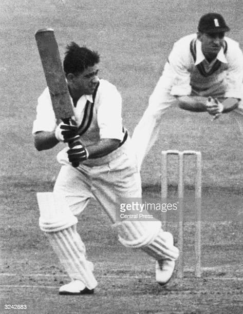 Vinoo Mankad batting for India against England in a test match at Manchester