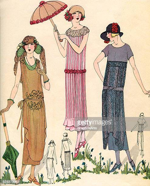 Vintage 1920s illustration of three models posing with flapper fashions lithograph 1922