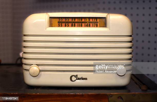 Vintage 1940s Clarion Bakelite AM radio for sale at an antique shop in Santa Fe, New Mexico.