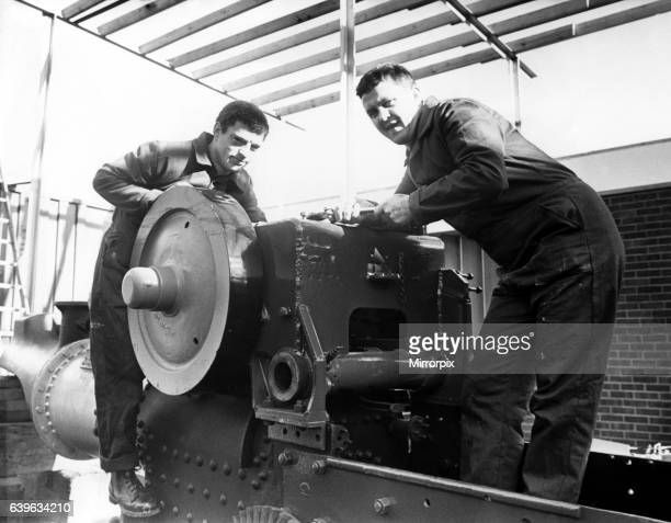A vintage 1947 steam roller being restored by Joe Shiel left and Malcolm Alexander at Walker Middle Street School on 7th March 1988
