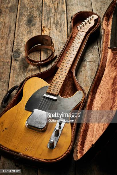 A vintage 1950 Fender Broadcaster electric guitar in a case taken on March 5 2019
