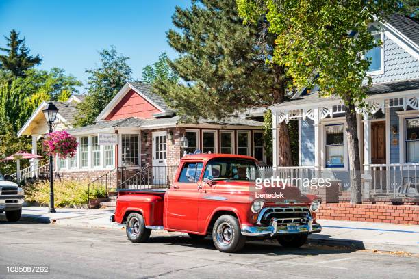 vintage 1950s chevrolet 3100 pickup truck in carson city nevada usa - 1957 stock pictures, royalty-free photos & images
