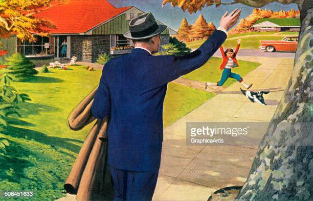Vintage 1950s illustration of a businessman returning home from work greeting his family in his front yard 'Hi Honey I'm Home' Screen print 1956