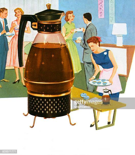 Vintage 1950s illustration of a glass coffee carafe with a 1950s housewife serving guests at her home screen print 1958